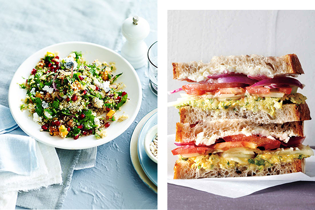 Salad vs a salad sandwich: If you opt for a protein rich salad with good fats such as avocado or an olive oil dressing then salad wins hands down. The salad provides much high quantity of beneficial veggies than what can fit into a processed bread sandwich. (Salad image: Gourmet Traveller)
