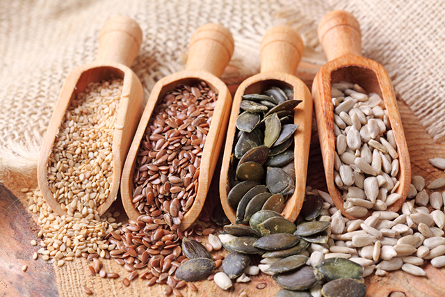 Seeds: Seeds, like nuts are a great source of magnesium, and they also (like nuts) contain tryptophan and vitamin B6, which are needed for melatonin production.