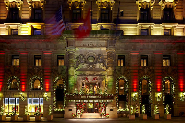 The Peninsula New York: No snow guarantee but Christmas on Fifth Avenue may just be the quintessential Yule and The Peninsula goes all out on the high-end holiday vibes. 700 Fifth Avenue at 55th Street, New York, NY 10019, USA