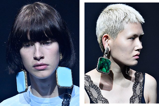 Short hair is in – all the better to show off huge doorknocker earrings, as seen at Balenciaga