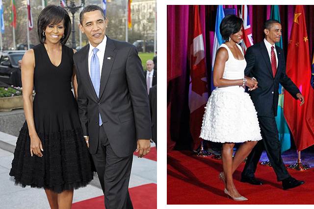 The former first lady Michelle Obama wearing Alaïa (image: Getty)