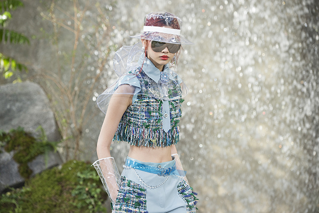 Chanel's majestic waterfall set in the Grand Palais with matching – and equally fabulous – rain gear