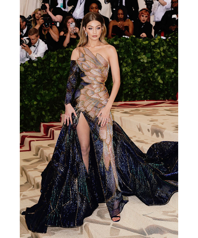 Gigi Hadid wearing Versace at the Met Gala 2018. Image credit: Getty Images.