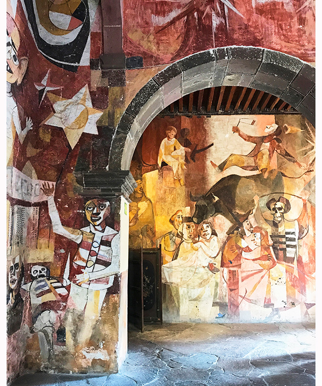Mexican cubist wall mural from 1959 - the public art in this town blew me away.