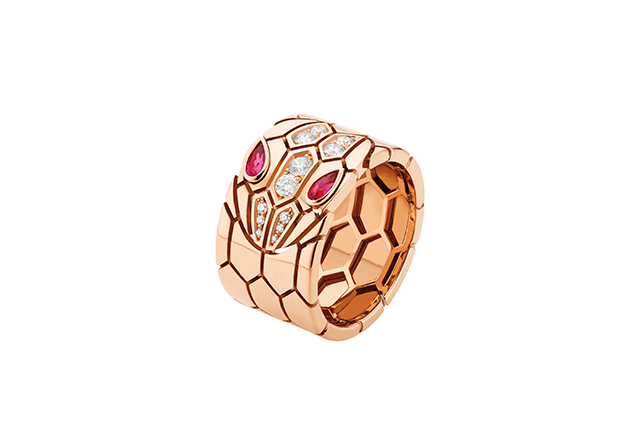 Serpenti pink gold band ring with rubellite eyes and pavé-set head