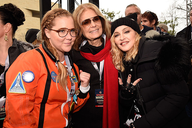 "Amy Schumer, Gloria Steinem and Madonna got fired up at the Washington march. Madonna dropped the f-bomb (twice) and landed herself in hot water after telling the crowd, ""Yes, I'm angry. Yes, I am outraged. Yes, I have thought an awful lot about blowing up the White House."" She later explained that she was speaking in metaphor and was not to be taken literally."