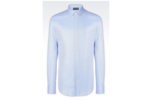 The shirt. Give his wardrobe a bit of a nudge into this century with this Emporio Armani shirt, $370, armani.com/au. It's long enough at the back to be worn untucked for a casual barbie or teams with most any suit for an updated effect and is 100 per cent cotton for breathability.