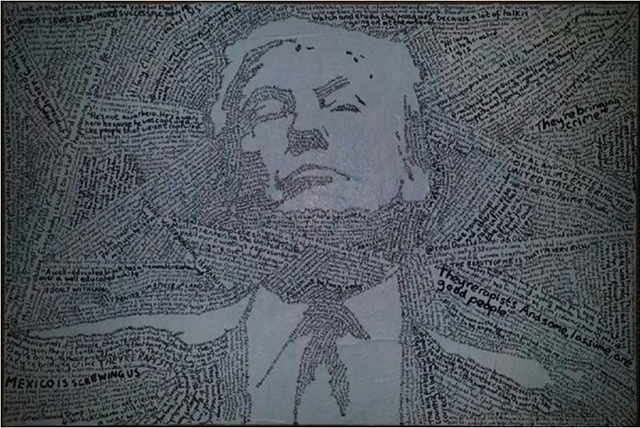 Artist Coner Collins' portrait of Trump using all the hate speech from his Twitter account