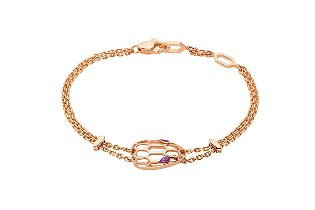 Serpenti pink gold bracelet with amethyst eyes