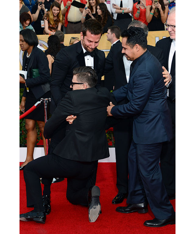 During the 2014 Screen Actors Guild Awards, Vitalii threw himself onto Bradley Cooper, by firmly holding up around the crutch area.