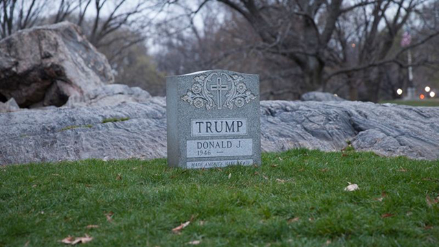 Brian Andrew Whiteley created this temporary tombstone to Trump in Central Park