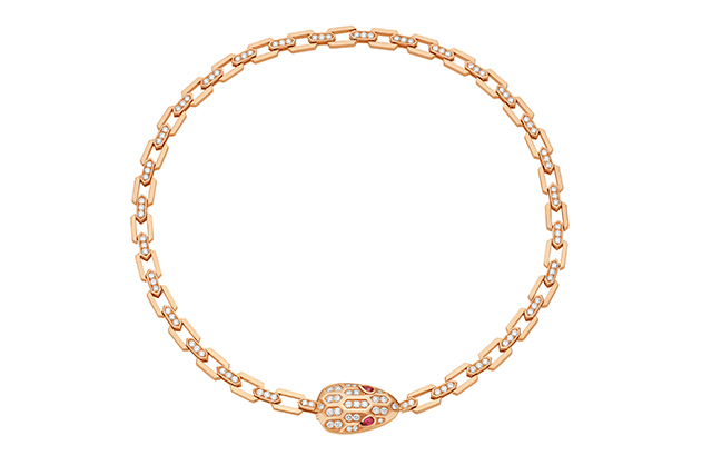 Serpenti pink gold collar with rubellite eyes and pavé-set head and chain
