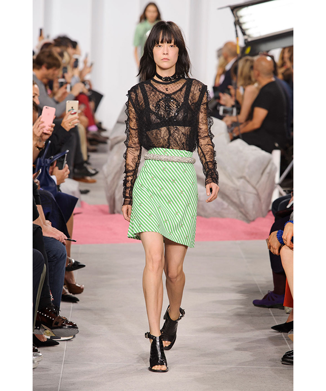 Carven: sheer lace and lime green