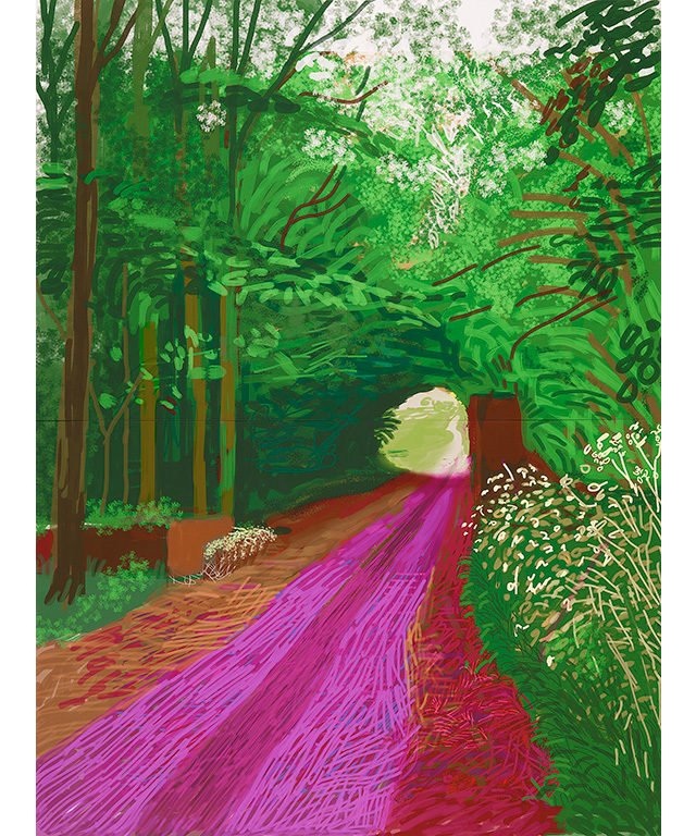 David Hockney English 1937– 'The arrival of spring in Woldgate, East Yorkshire in 2011 (twenty eleven) – 31 May, No. 1 (900)' iPad drawing printed on 6 sheets of paper mounted on Dibond 290.8 x 218.4 cm (overall) Collection of the artist © David Hockney. Photo Credit: Richard Schmidt