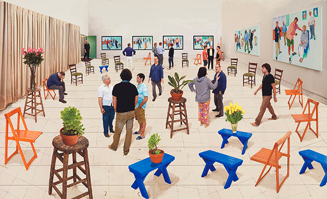 David Hockney English 1937– '4 blue stools 2014' photographic drawing printed on paper, mounted on Dibond edition 5 of 25 170.3 x 175.9 cm (image) Collection David Hockney Foundation © David Hockney Photo Credit: Richard Schmidt