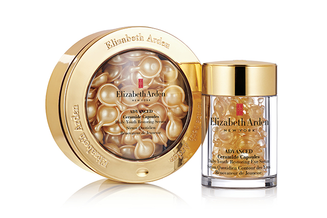 2.	Elizabeth Arden Advanced Ceramide Capsules Daily Youth Restoring Eye Serum, $115 for 60 capsules. Containing Tsubaki oil, Vitamin A Palmitate (a derivative of vitamin A) and Enhanced Ceramide Lipid Complex, these serum-filled capsules are like drops of anti-ageing gold. The formula is rich and nourishing enough to deliver major moisture, but lightweight enough to sink into skin without leaving any oily residue. A wonder for plumping out fine lines.