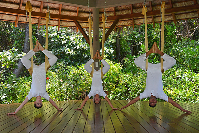Four Seasons Hotel, Maldives. Just what a holiday calls for, AntiGravity yoga uses hammocks suspended above the ground for an acrobatic gravity defying exercise. With a strong focus on yoga for body and mind, the Four Seasons Hotel includes a range of different practices as part of their health and wellbeing curriculum so guests can be sure to leave feeling like a weight has been lifted, literally.