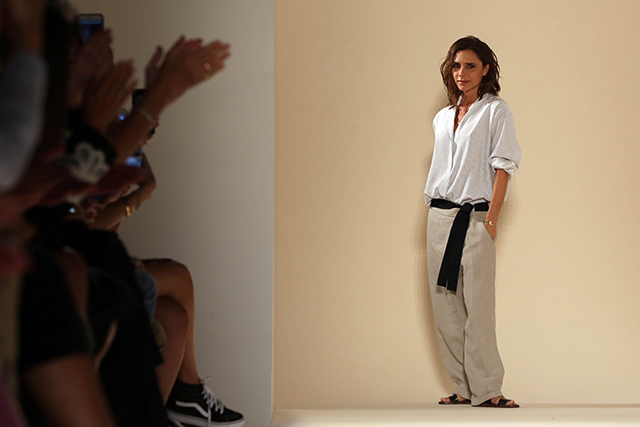 Victoria Beckham also used her show to present models in her Estee Lauder make-up collection