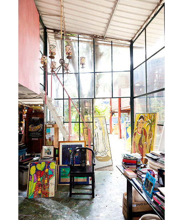 The bohemian, Frida Kahlo-inspired home of artist Isabelle Tuchband in Sao Paulo, Brazil.