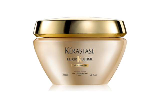 Kérastase Elixir Ultime Masque D'Huile Sublimatrice: four luxurious oils make up this uber-hydrating masque, from maize to argan to camellia to Pracaxi. Designed to soften and add shine, it's designed to be applied post-shampoo and left for five minutes, just on mid-lengths to ends.
