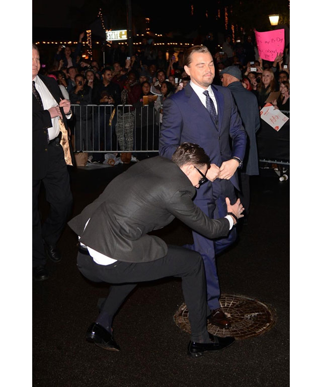 Another bizarre crotch-grabbing incident occurred with actor Leonardo DiCaprio on the red carpet for the International Film Festival in 2014.