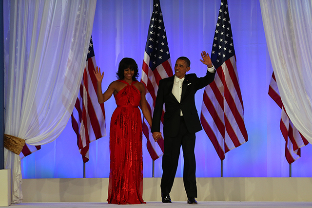 Arriving at the Inaugural Ball on January 21, 2013 in Washington, DC. President Obama was sworn in for his second term earlier in the day