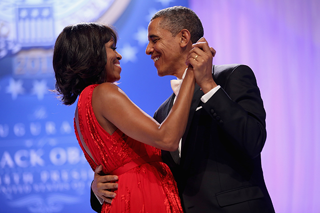 Barack Obama and Michelle Obama dance together during the Comander-in-Chief's Inaugural Ball at the Walter Washington Convention Center January 21, 2013