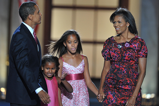A family moment as Democratic Presidential candidate Barack Obama, Michelle and Sasha and Malia arrive on stage at the end of the Democratic National Convention 2008 at the Invesco Field in Denver, Colorado, on August 28, 2008