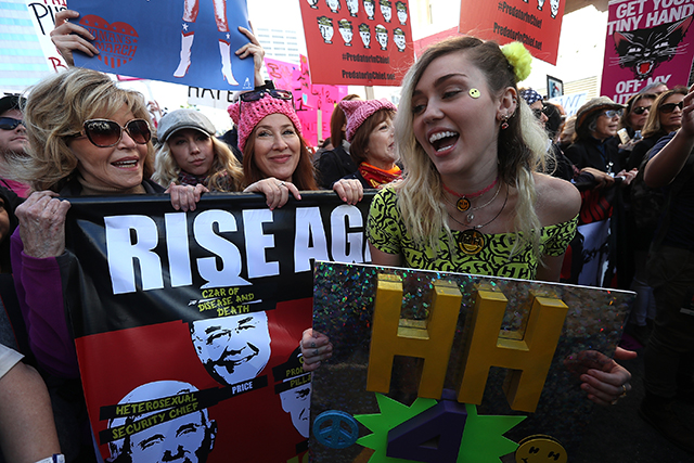 Miley Cyrus got passionate at the Women's March in LA and was cheered on by Jane Fonda.
