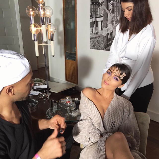 Olivia Culpo in hair and makeup