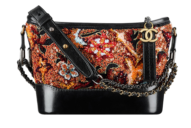 Orange embroidered tweed and black leather Chanel Gabrielle bag, $24,550