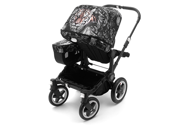 Bugaboo by We Are Handsome Sun Canopy and side luggage basket cover on the Bugaboo Donkey
