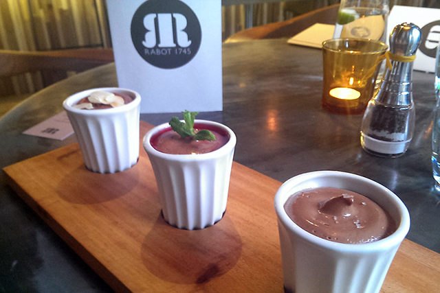 The Rabot 1745 Mousse Collection, Rabot 1745, London: Part of the Hotel Chocolat empire, this Borough Market hotspot boasts a menu whereby every single item is flavoured in some form or another with cacao. But their trio of mousse is the ultimate must-try