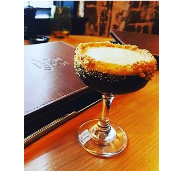 Sweet n' Salty Spresso (vanilla-infused Ketel One Vodka, Kahlua and espresso served with salted caramel & biscotti), Riley Street Garage.