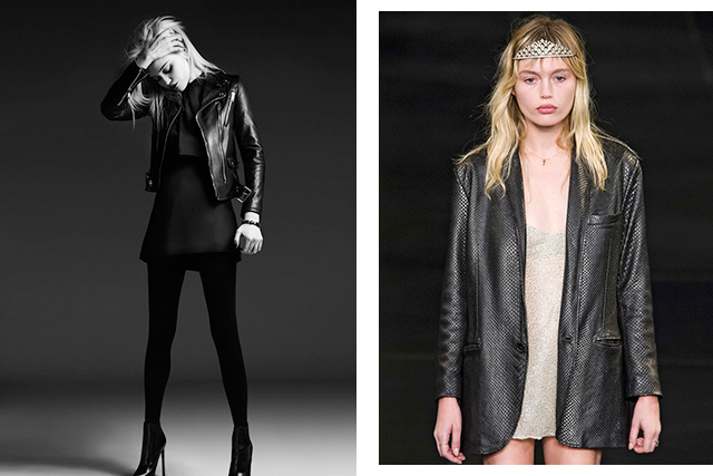 8. A flair for talent scouting. A passion for music and undiscovered talent meant singers like Sky Ferreira (left) and shaved head model Ruth Bell got a start in Saint Laurent campaigns, while Hedi even discovered slashies like model/muso Staz Lindes (right), who made her debut on the S/S '16 runway.