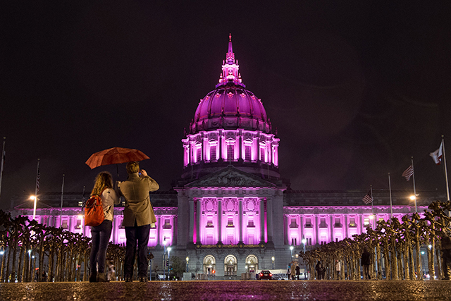 San Francisco's City Hall was lit up in pink.