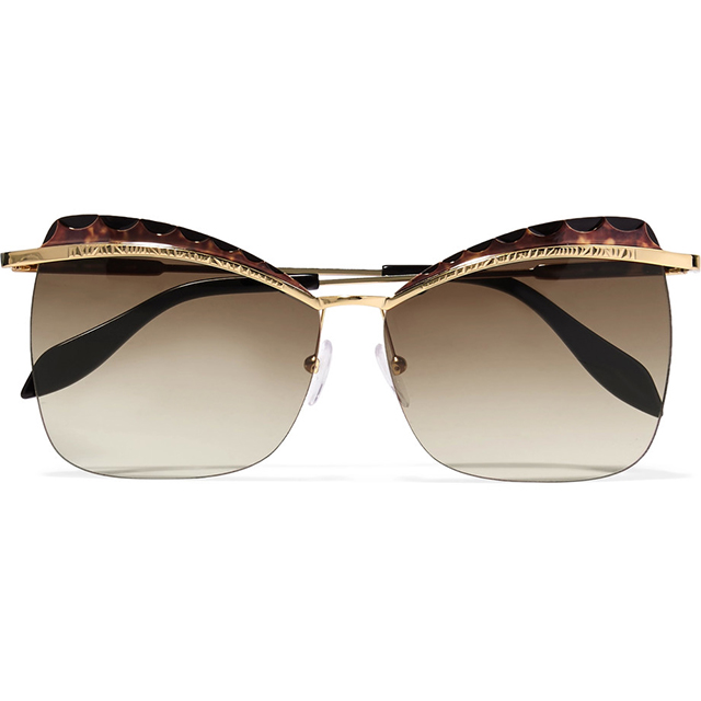Alexander McQueen tortoiseshell and gold-tone sunglasses; $560 at Net-a-Porter.com.