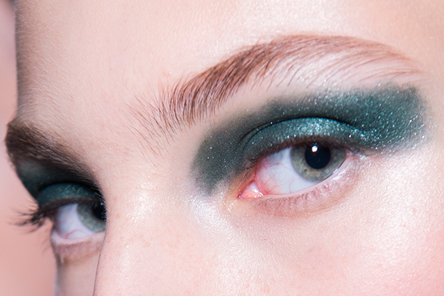 One of the model wears eyeliner from the collection