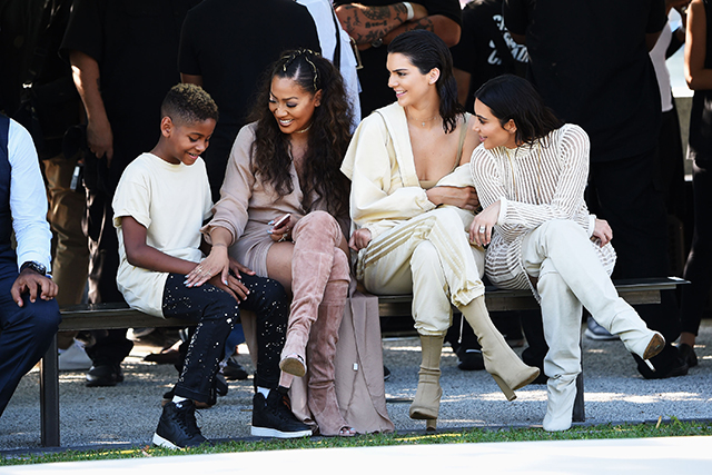 Kim and Kendall with media personality La La Anthony and son Kiyan Carmelo Anthony