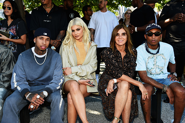 Tyga, Kylie, Carine Roitfeld and Pharrell Williams front row