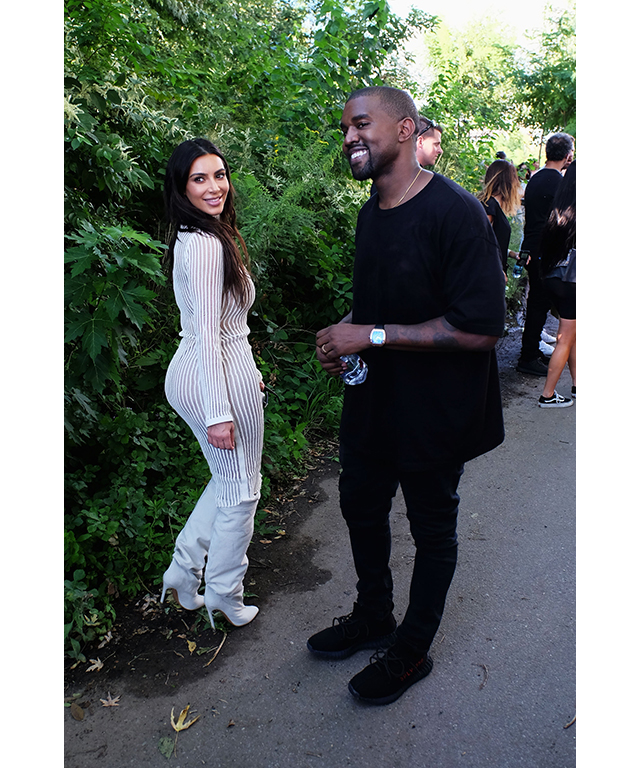 Kim and Kanye before the show