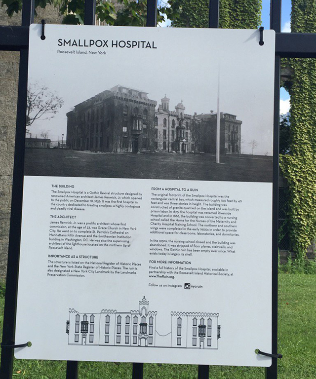 The location of the show: a former Smallpox hospital on Roosevelt Island