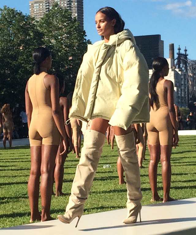 Yeezy does suede boots and puffa jackets