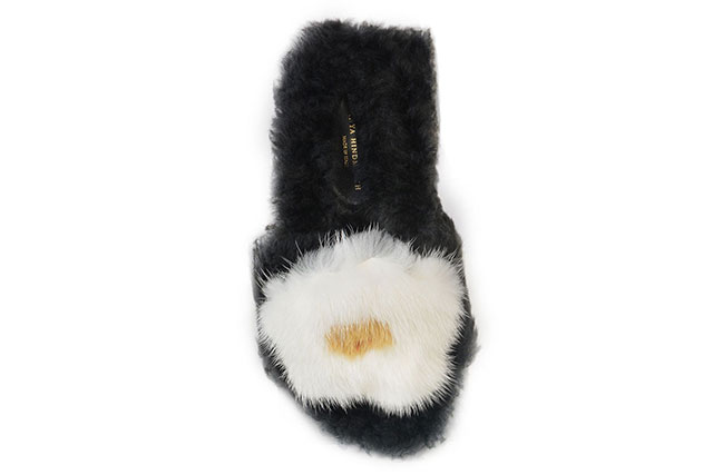 Anya Hindmarch fried egg shearling slides