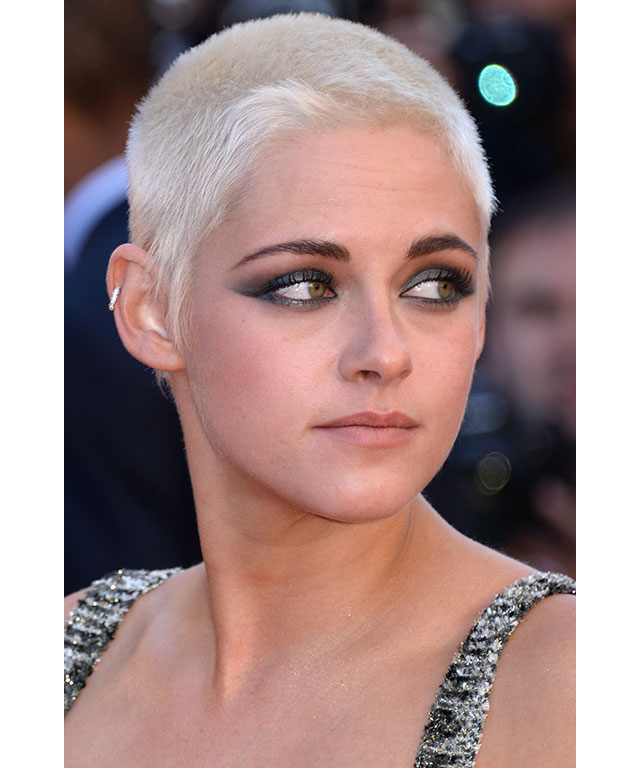 Kristen Stewart: Kristen showcased her newly platinum buzz cut, and paired the short 'do with an exaggerated metallic cat eye.