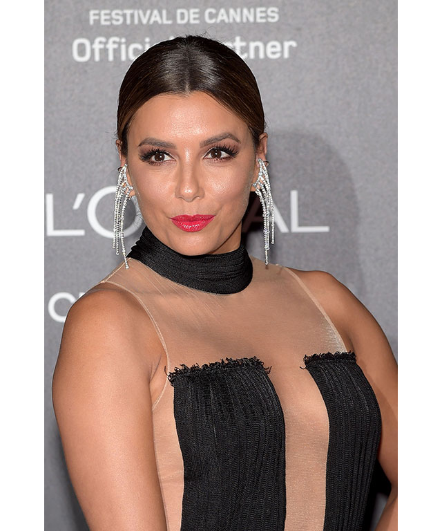 Eva Longoria: Eva's pink pout was framed perfectly with her hair choice.