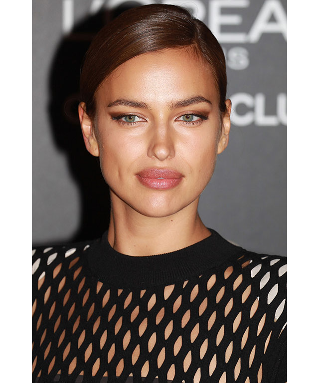 Irina Shayk:  Shayk teamed a slick parted-'do with an overstated winger eyeliner.