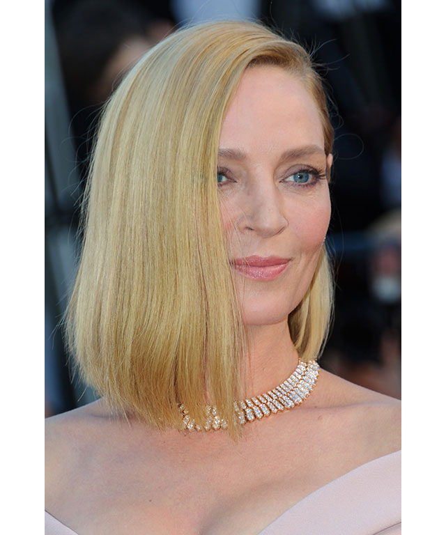 Uma Thurman:  went for pastel pink tones to highlight her pink gown, with light blush cheeks and a soft nude lip.