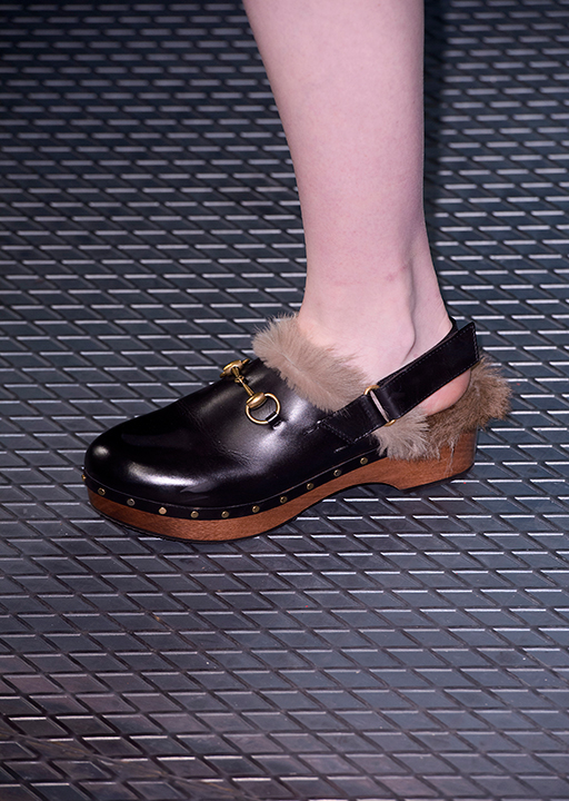 Gucci:  70's fur lined clogs