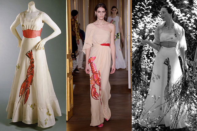 Schiaparelli brought back the Lobster dress after an 80 year hiatus. From left, the original dress from 1937 as on display at the Philadelphia Museum of Art, the 2017 couture reprise and finally, W.E. Simpson wearing the gown in Vogue in 1937.